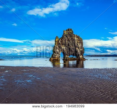 Northwest Iceland. Hvitserkur - basalt rock in the form of a huge mammoth. The concept of extreme northern tourism