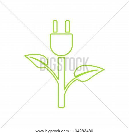 Green Plug Power Consumption. Ecology Charging  vector icon.