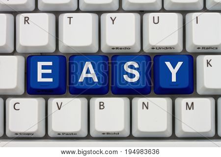 Easy to do tasks on the internet A close-up of a keyboard with blue highlighted text Easy 3D Illustration