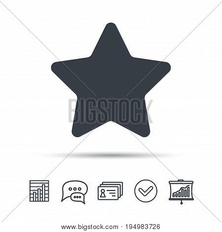 Star icon. Favorite or best sign. Web ranking symbol. Chat speech bubble, chart and presentation signs. Contacts and tick web icons. Vector