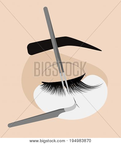 Procedure for eyelash extension. Master tweezers add the false or fake cilia to the client. Vector