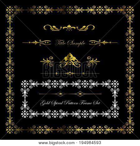 Gold Flower Spiral Pattern Frame And Border Set