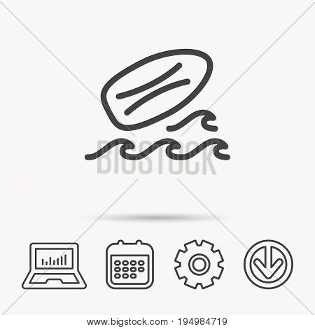 Surfboard icon. Surfing waves sign. Notebook, Calendar and Cogwheel signs. Download arrow web icon. Vector