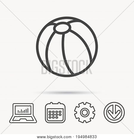 Swimming ball icon. Beach toy sign. Notebook, Calendar and Cogwheel signs. Download arrow web icon. Vector