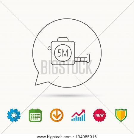 Tape measurement icon. Roll ruler sign. Calendar, Graph chart and Cogwheel signs. Download and Shield web icons. Vector