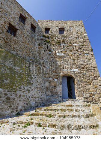 SKYROS, GREECE - JUNE 17, 2017: Castle on Skyros island in Greeceon June 17, 2017.