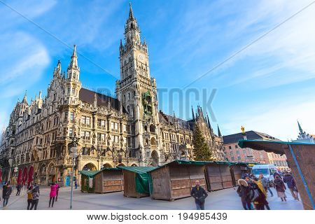 Munich, Germany - December 26, 2016: Marienplatz town hall rathaus and Christmas market after holidays