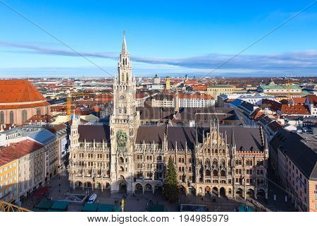 Munich, Germany - December 26, 2016: Aerial panoramic view of Marienplatz town hall rathaus and city skyline in Munich, Germany