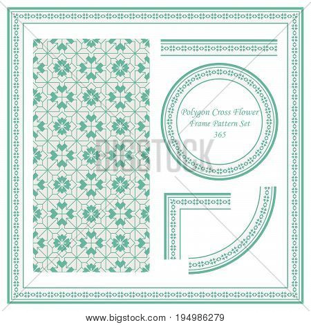 Vintage Border Pattern Of Polygon Cross Flower Geometry Line