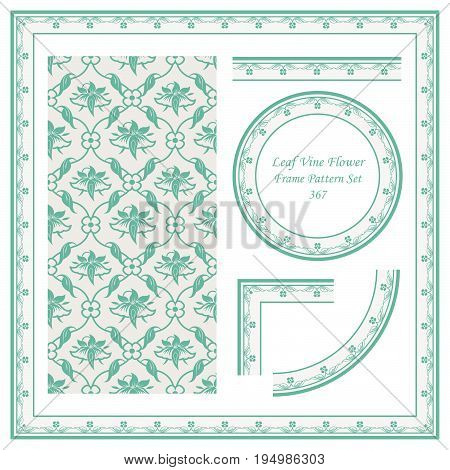 Vintage Border Pattern Of Cross Leaf Vine Flower