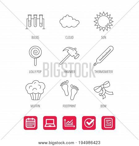 Footprint, lab bulbs and thermometer icons. Muffin, bow and lolly pop linear signs. Cloud and sun flat line icons. Report document, Graph chart and Calendar signs. Laptop and Check web icons. Vector