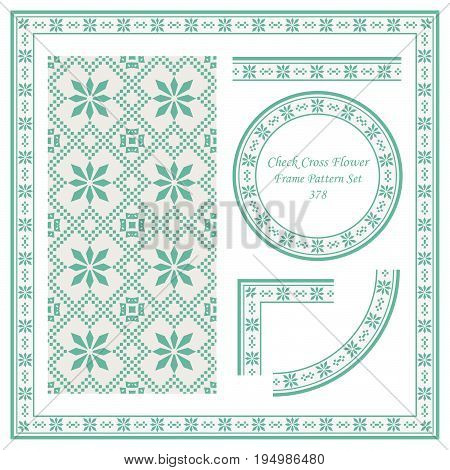 Vintage Border Pattern Of Check Cross Square Flower