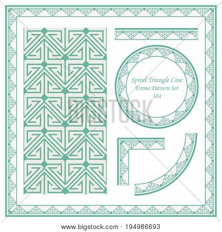 Vintage Border Pattern Of Spiral Triangle Cross Line