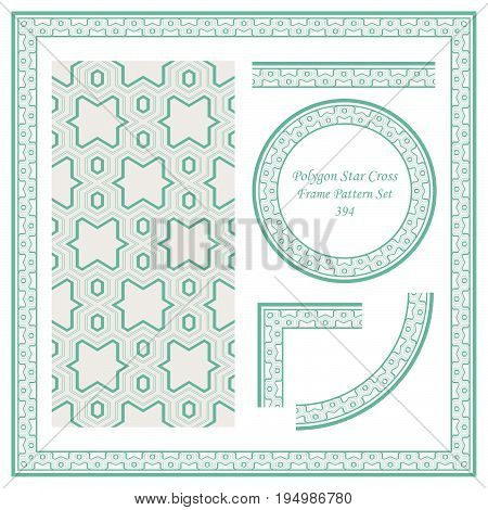 Vintage Border Pattern Of Polygon Star Cross Geometry Line