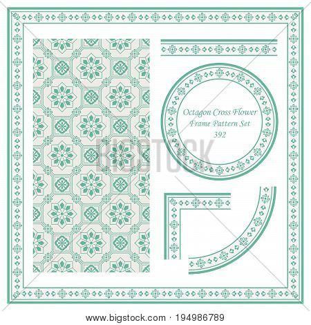 Vintage Border Pattern Of Oriental Octagon Cross Flower