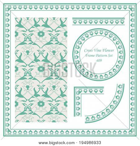 Vintage Border Pattern Of Cross Vine Nature Flower