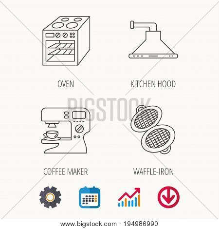 Waffle-iron, coffee maker and oven icons. Kitchen hood linear sign. Calendar, Graph chart and Cogwheel signs. Download colored web icon. Vector