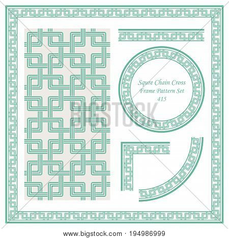 Vintage Border Pattern Of Squre Chain Cross Geometry