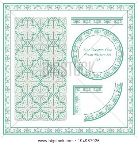 Vintage Border Pattern Of Star Polygon Cross Line