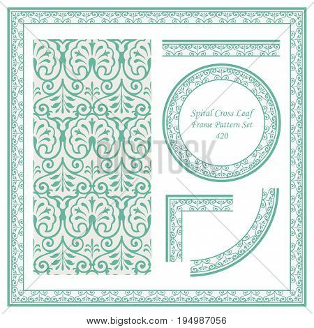 Vintage Border Pattern Of Spiral Cross Leaf Vine Frame