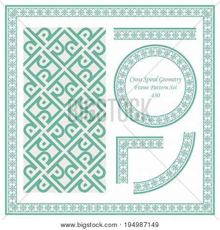 Vintage Border Pattern Of Cross Spiral Geometry