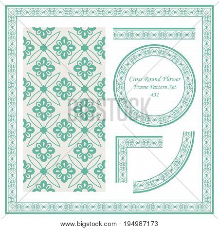 Vintage Border Pattern Of Cross Round Flower