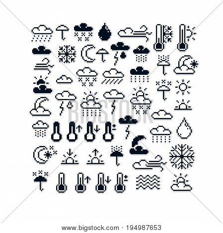 Vector pixel icons isolated collection of 8bit meteorology graphic elements. Simplistic digital signs created in weather conditions theme.