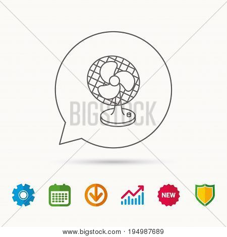 Ventilator icon. Fan or propeller sign. Calendar, Graph chart and Cogwheel signs. Download and Shield web icons. Vector