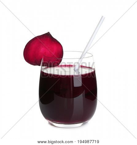 Glass of beet juice on white background