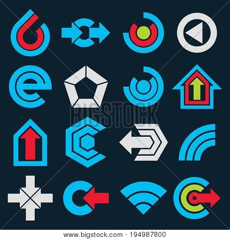 Geometric blue abstract vector shapes. Collection of arrows navigation pictograms and multimedia signs for use in web and graphic design.