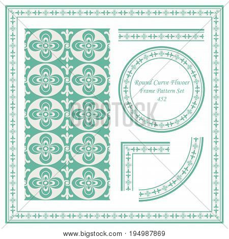 Vintage Border Pattern Of Round Curve Cross Flower