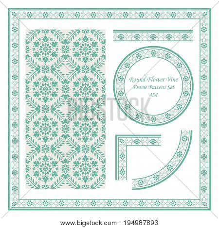 Vintage Border Pattern Of Garden Round Cross Flower Vine