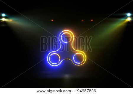 Glowing Rotating Blue Yellow Spinner 3D Illustration
