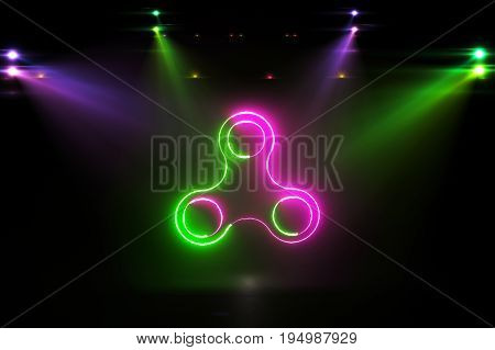 Glowing Rotating Pink Green Spinner 3D Illustration