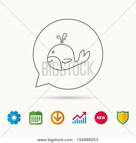 Whale icon. Largest mammal animal sign. Baleen whale with fountain symbol. Calendar, Graph chart and Cogwheel signs. Download and Shield web icons. Vector