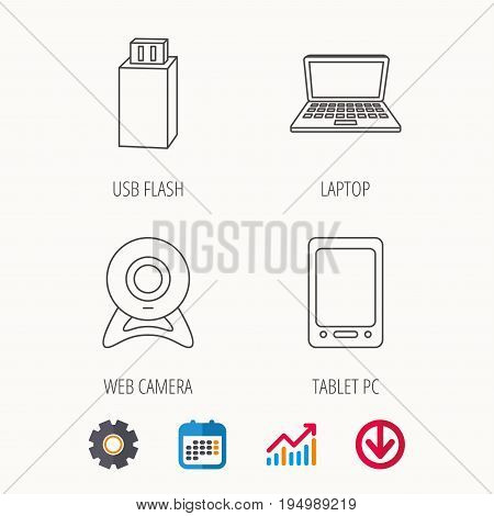 Web camera, USB flash and notebook laptop icons. Tablet PC linear sign. Calendar, Graph chart and Cogwheel signs. Download colored web icon. Vector