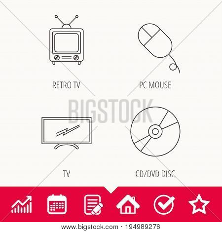 Retro TV, PC mouse and DVD disc icons. Widescreen TV linear sign. Edit document, Calendar and Graph chart signs. Star, Check and House web icons. Vector