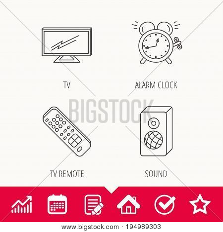TV remote, alarm clock and sound icons. Widescreen TV linear sign. Edit document, Calendar and Graph chart signs. Star, Check and House web icons. Vector