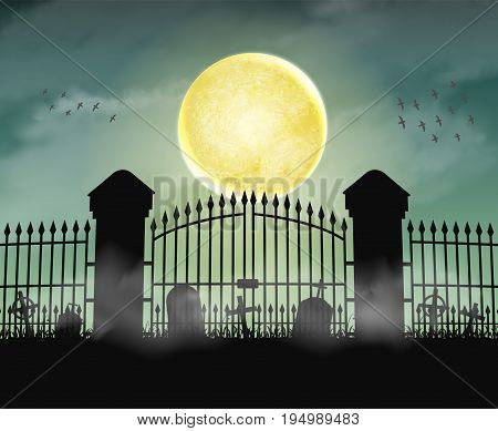 Silhouette cemetery graveyard gate with moon night