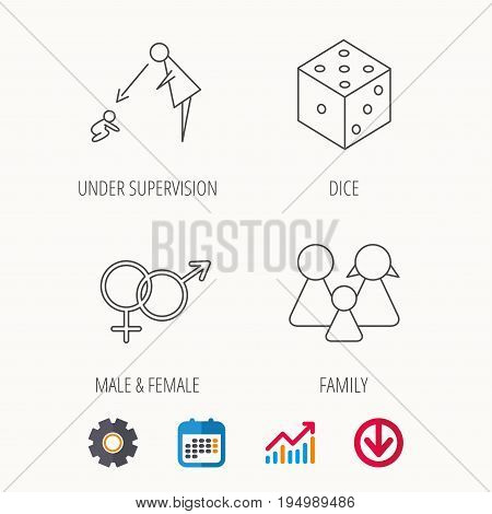 Male, female, dice and family icons. Under supervision linear sign. Calendar, Graph chart and Cogwheel signs. Download colored web icon. Vector