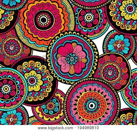 Decorative nature ornamental seamless pattern. Beautiful colorful doodle art pattern. Zentagle style. Ethnic Indian pattern poster