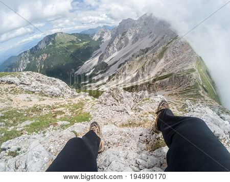 beautiful summer mountain landscape with cloudy sky male lags
