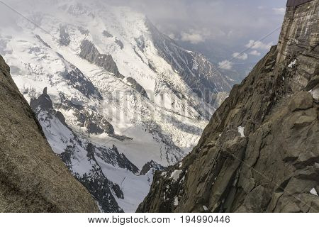 Rugged mountain landscape view from Aiguille du Midi. French Alps.