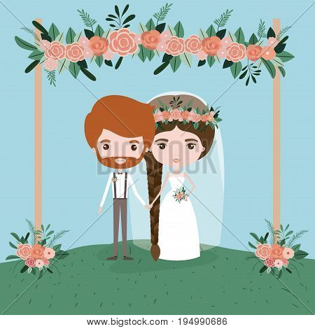 sky landscape scene background in grass with couple of just married under decorative frame with floral ornaments in wooden poles vector illustration