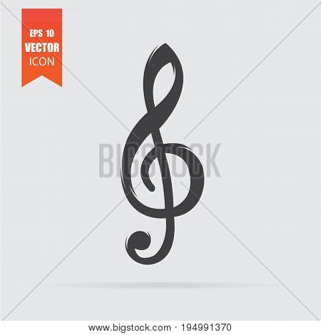 Treble Clef Icon In Flat Style Isolated On Grey Background.