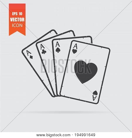 Playing Cards Icon In Flat Style Isolated On Grey Background.