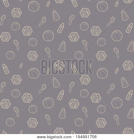 Seamless pattern with white line art icon of baby cubes, feeding bottles and stacking rings. Vector illustration. Background for dress, manufacturing, wallpapers, prints, gift wrap and scrapbook.