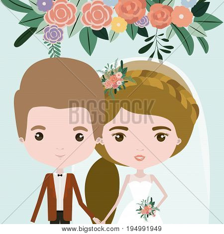 color background with half body couple of just married man and woman with ponytail hair vector illustration