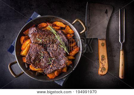 Beef Steak. Roasted Beef Steak With American Potatoes