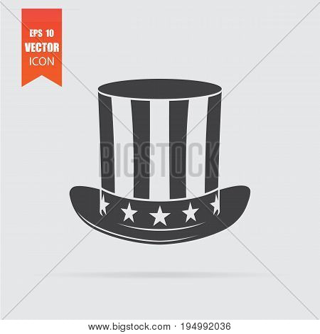 Uncle Sam Hat Icon In Flat Style Isolated On Grey Background.